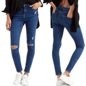 Topshop Moto Jamie Distressed Skinny Jeans 25 x 30